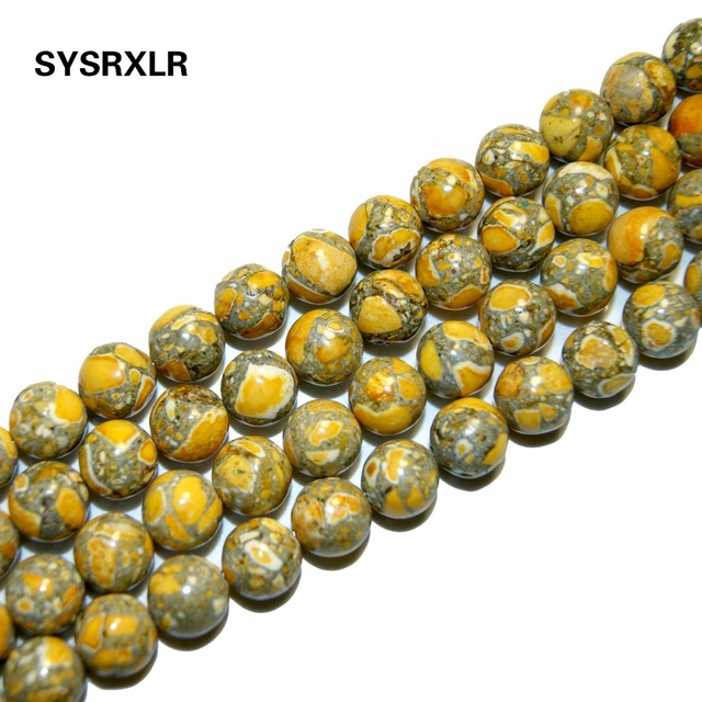 "The Free Transport 15 ""Natural Stone Yellow Sea Sediment Beads Round Imperial Loosened 6/8/10 MM Choice Format For Jewelry DIY"