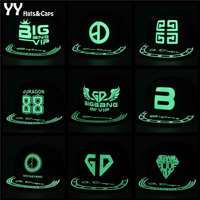 Engraçado brilho Luminoso em noite escura Snapback Hip Hop Cap Casquillo Luminoso Gorra YY0360
