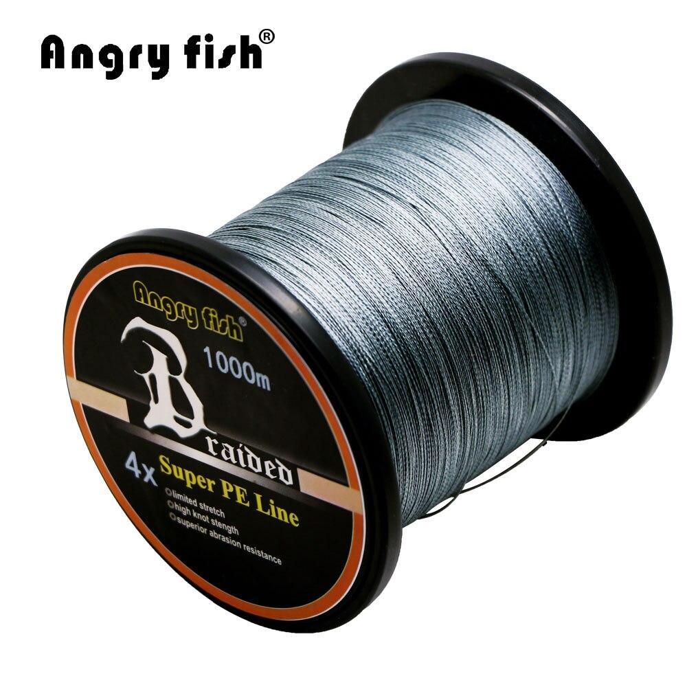 ANGRYFISH All'ingrosso 1000 m 4 Fili Intrecciato Linea PE Linea di Pesca 11 Colori Super Forte Resistenza