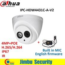 4mp dahua ip-камера ipc-hdw4431c-a-v2 заменить ipc-hdw4431c-a poe ir50m нескольких языков h.265 встроенный-микрофон бесплатный адаптер включают