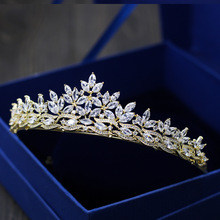 New Fashion luxury Paved crystal Cubic Zircon flowers Tiaras Wedding bride banquet dressing crown Hair Jewelry