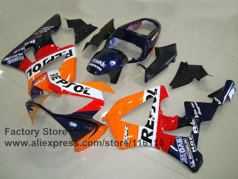Personalizado livre carenagem da motocicleta conjunto para honda cbr 929 rr 2000 2001 cbr 929 00 01 cbr 900r laranja azul repsol carenagens - 2