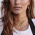 Danfosi Brand Crystal Geometric Pendant Maxi Collar Choker Necklaces For Women Chunky Chain Statement Necklaces Vintage Jewelry