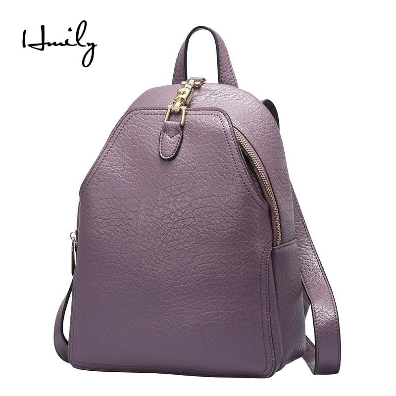 Voyage À Sac Bandoulière Cuir Dames purple En Black Couverture Hmily Véritable Dos gray Femelle D'école Collège Cowskin Femmes qgEC5wA8