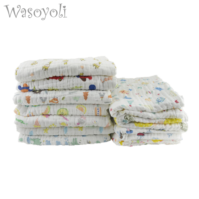 1Pc Wasoyoli Baby Swaddles 70*140cm 100% Cotton Newborn Blankets 6 Layers Seersucker Muslin Bathing Gauze Stroller Cover
