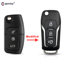 KEYYOU 3 Button Modified Flip Folding Key Shell Cover Remote Case For Ford Focus 2 3 mondeo Fiesta Flip Key Fob HU101 Blade