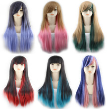 Long Straight Black Red Ombre Wig With Bangs Synthetic Harajuku Lolita Hair Anime Cosplay Wigs For Women Free Shipping free shipping 130cm super long straight light blue black butler wig undarteker