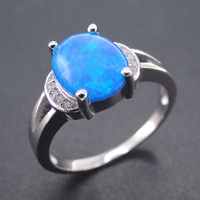 2016 New Fashion  Fine Jewelry 100% 925 Sterling Silver Rings Blue Fire Opal Women Rings for Wedding Party