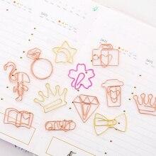 5 шт/лот красивые золотые скрепки для бумаги закладки планировщик бумажный зажим материал Эсколар закладки для книг канцелярские принадлежности Школьные принадлежности
