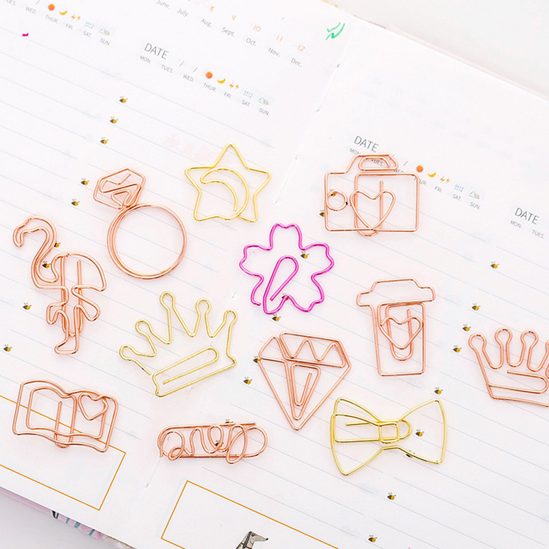 5 Pcs/lot Beautiful Gold Paper Clip Bookmark Planner Paper Clip Material Escolar Bookmarks For Book Stationery School Supplies