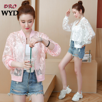 Summer White Thin Jacket Casual Stand Collar Long Sleeve Female Bomber Jacket Fashion Pink Hollow Sunscreen Cardigan Short Coat