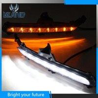 Car Day lights For Kia Rio K2 LED Daytime Running Light 2015 2016 Daylight Fog Lamp Yellow Turn Signals