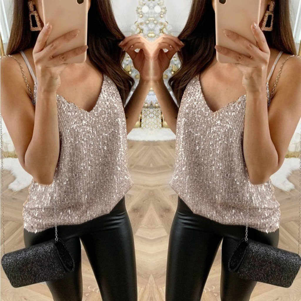Plus Size Summer Fashion Strap Sequined Blouse Casual Ladies Sexy Vest Tee Tops Female Women's Sleeveless Shirt Blusas Tank Tops