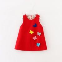 Kids Dresses For Baby Girls Clothes Flower Autumn Winter Woolen Blends Cute Butterfly Children Clothing New