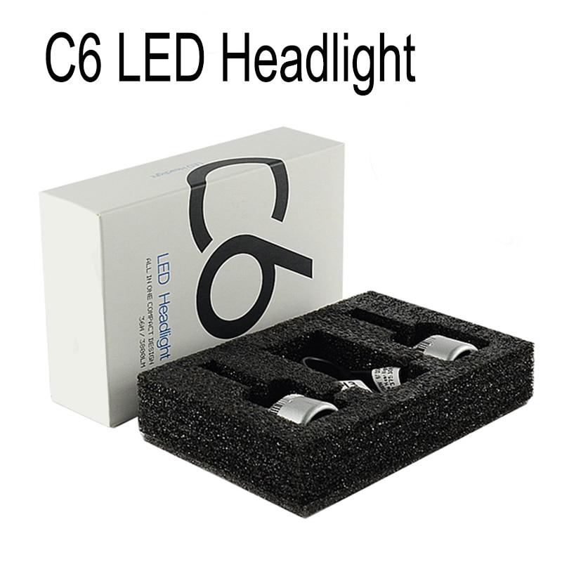 2x 9006 HB4 COB LED C6 Headlight Kit Fog Light 6000K Pure White 72W 7200LM