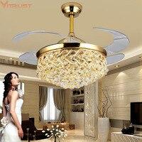 Crystal ceiling fans lamps invisible Pendant fan lights Modern Home bedroom living Dining room Restaurant Cafe 110V 220V 42inch