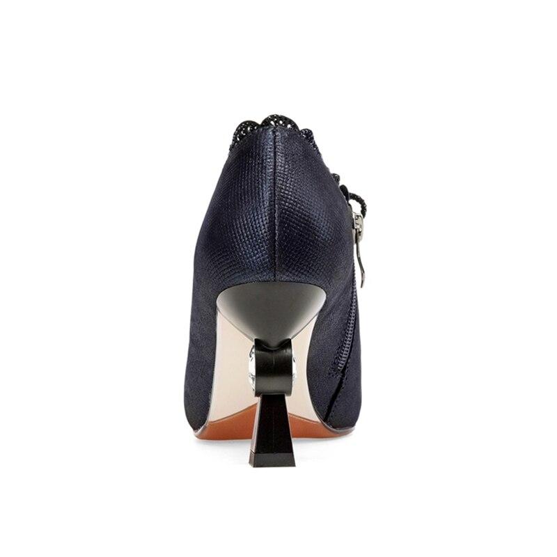 REAVE gato mujeres bombas zapatos de bombas de cuero genuino señoras tacón alto de mujer con cremallera boda diamantes de imitación extraño heels1539-in Zapatos de tacón de mujer from zapatos    2