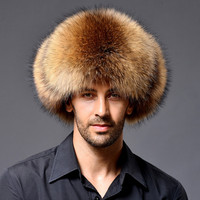 2015 100 100 Natural Fox Fur Hat Male Outdoor Genuine Leather Cap Fox Fur Hat Lei