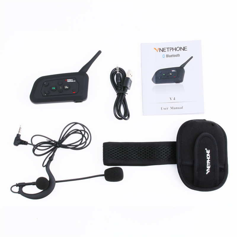 V4C 1000M Intercom Motorcycle Helmet Bluetooth Headset for 4 Riders BT Intercomunicador bluetooth para motocicleta Walkie Talkie carchet 2x bt bluetooth motorcycle helmet inter phone intercom headset 1200m 6 rider motorbike headset handsfree call