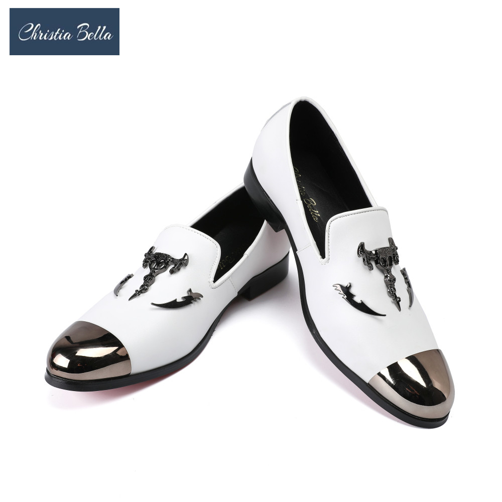 Christia Bella New Metal Toe and Metal Skull Buckle Men Patent Leather Casual Shoes Men Party and Wedding Loafers Men's Flats italy fashion design bright face buckle and gold metal toe men genuine leather shoes men casual flats party wedding men loafers