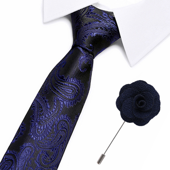 Mens Tie Blue Paisley Silk Neck tie Classic Tie brooches Set Ties For Men Business Wedding Party Free Shipping lettuce trim tie neck bikini set