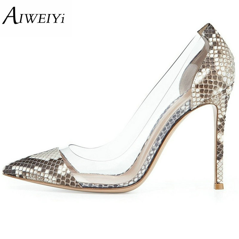 AIWEIYi Women's Thin High Heel Stilettos Pointed Toe Patent Leather Shoes Summer Style Slip On Ladies Wedding Pumps Brand Shoes aiweiyi women high heel pump shoes 2018 pointed toe med heel high heels patent leather slip on platform pumps lady wedding shoes