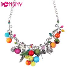 Bonsny Statement Enamel Fruit Bird Butterfly Necklace Flower AlloyLong Chain Collar 2016 New Fashion Brand Jewelry For Women(China)