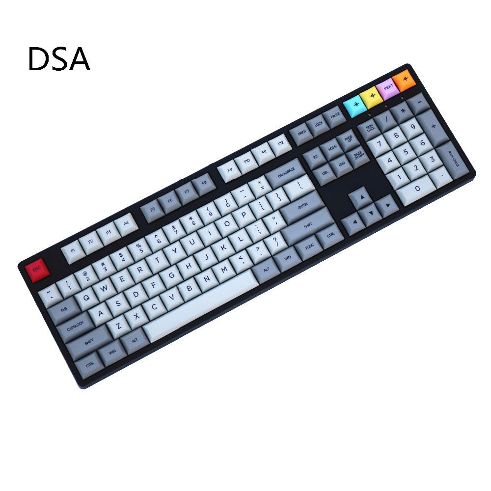 Gray and Light grey Mix DSA PBT 156 Dye-Sublimated Font print Cherry MX Switch  mechanical keyboard Keycap Only sell keycaps