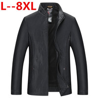 8XL 6X Men's leather Jacket design stand collar Coat Men casual motorcycle leather coat Mens Sheepskin jackets Windbreaker Coats