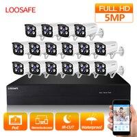 LOOSAFE POE Surveillance Cameras System 16CH 5.0MP Security Camera POE HD CCTV DVR 16PCS 5.0 MP IR Outdoor Security Camera Kit