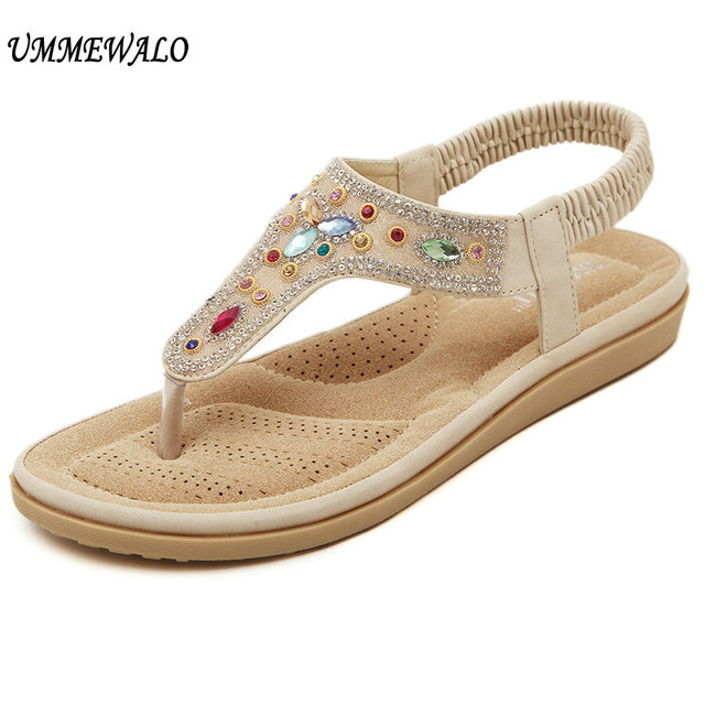 f7f269130622 UMMEWALO Sandals Women T-strap Flip Flops Thong Flat Sandals Rhinestone  Designer Elastic Band Gladiator Sandal Shoes Summer