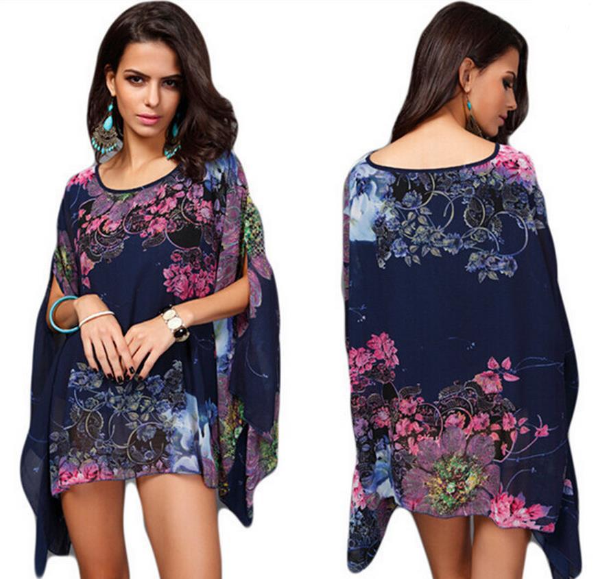 2018 Noble elegant dress one-piece dress plus size one-piece dress summer Chiffon bat sleeve print dress irregular vestidos