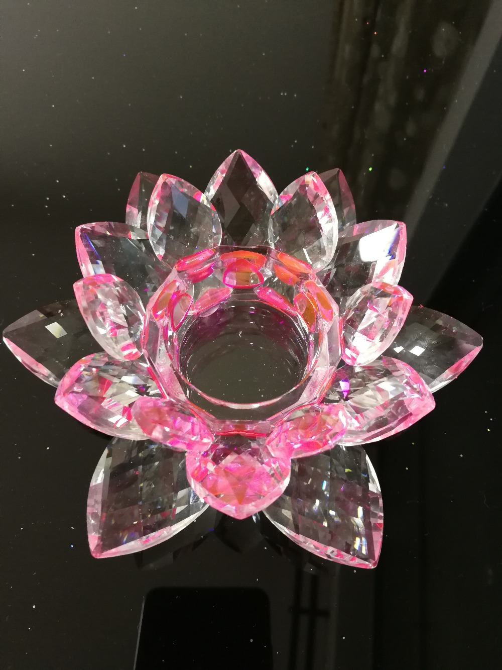 Pink Crystal Glass Lotus Flower Candle Holder Candlestick Candelabra