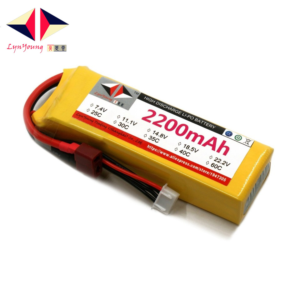 LYNYOUNG rc Lipo 3s battery 11.1V 35C 2200mAh for Drones Helicopter Car Airplane Boats