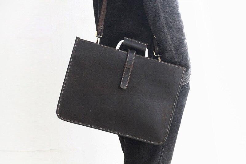 2019 novo estilo de couro bolsa de negócios laptop sacos de escritório retângulo fino