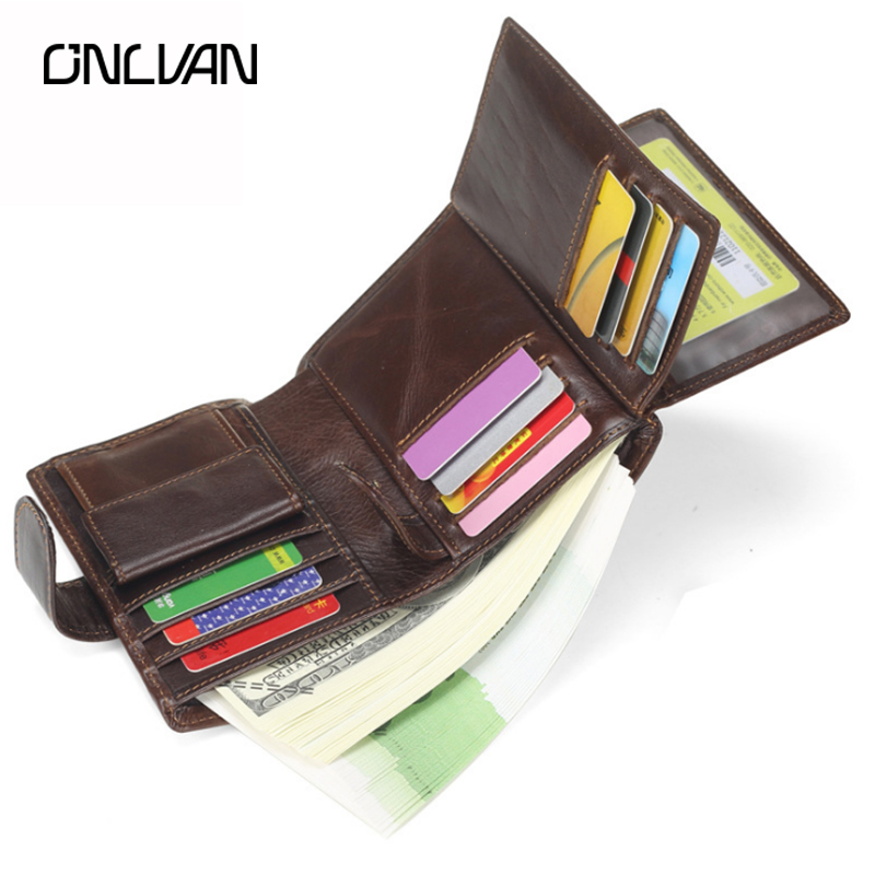 ONLVAN Vintage Wallet Men Nature Genuine Leather Male Credit Card Holder Coin Pocket Fashion Brand Design Small Carteira Purse