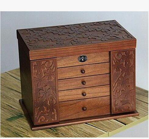 wooden jewelry box Storage Box retro wood clover cosmetic boxes with lock special offer Organization case 34*23*25cm