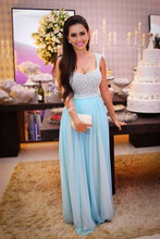 Arabic Full Beading Tops Light Blue A line Sleeveless Formal Party font b Dress b font