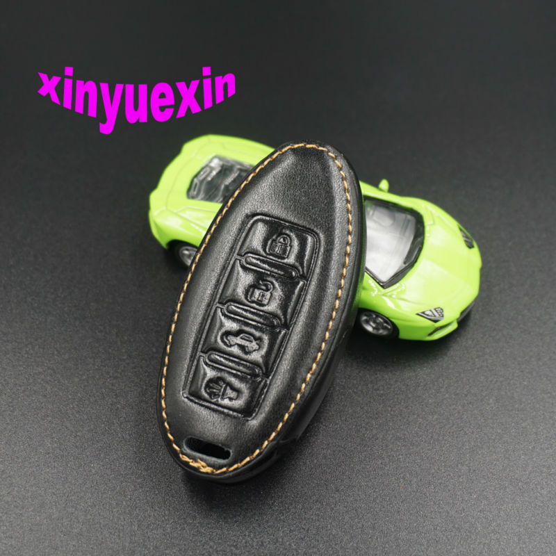 Xinyuexin Leather Car Key Cover Case For Nissan Qashqai Juke X-trail Note Almera Altima Serena Remote Key Jacket With Keychain