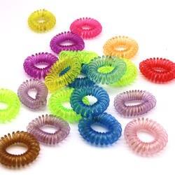 30 шт. эластичные резиновые ленты Головные уборы прозрачный телефон провода Hairbands женские аксессуары для волос Плетение инструменты