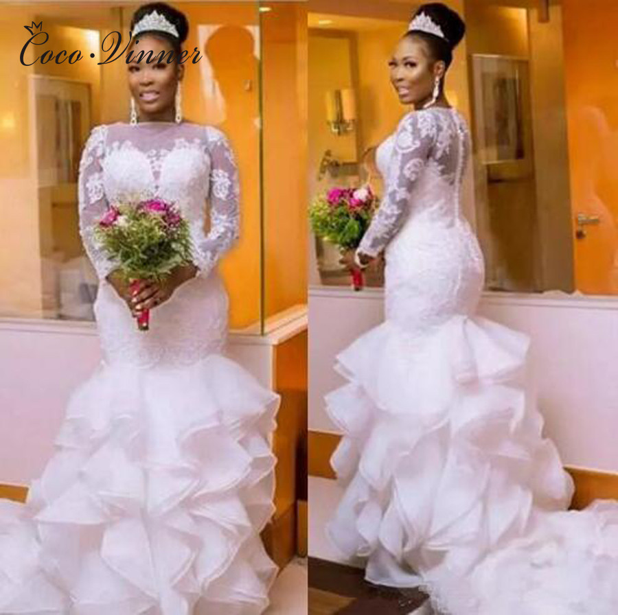 Long Sleeve Button Back Ruffles Tiered Mermaid Wedding Dress African White Color Plus Size Bride Marriage