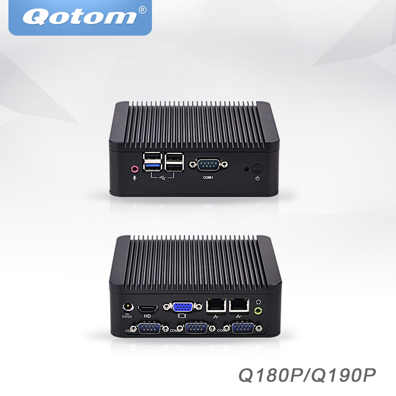 Qotom Мини ПК Baytrail j1800 j1900, 4 COM промышленный микро ПК 2 ethernet x86 pfsense безвентиляторный настольный промышленный мини-компьютер