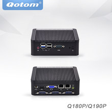 Qotom Mini Pc Baytrail J1800 J1900, 4 Com Industriële Micro Pc 2 Ethernet X86 Pfsense Ventilatorloze Desktop Industriële Mini Computer(China)