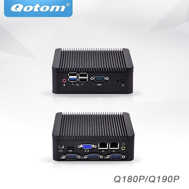 Qotom Mini PC Baytrail j1800 j1900, 4 COM Industrielle micro pc 2 ethernet x86 pfsense Sans Ventilateur De Bureau Mini-Ordinateur Industriel