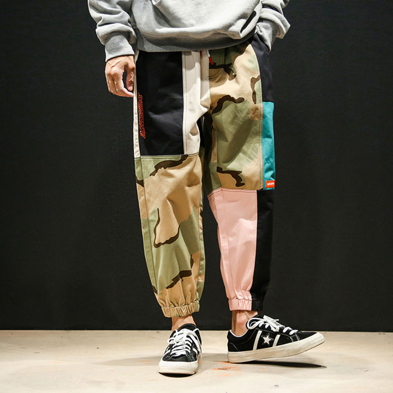 Plus Size Hip-hop Skateboard Loose Colour Camouflage Leisure Hallen Pants Tippy Male 2019 New Fashion Elastic Waist Street Pants(China)