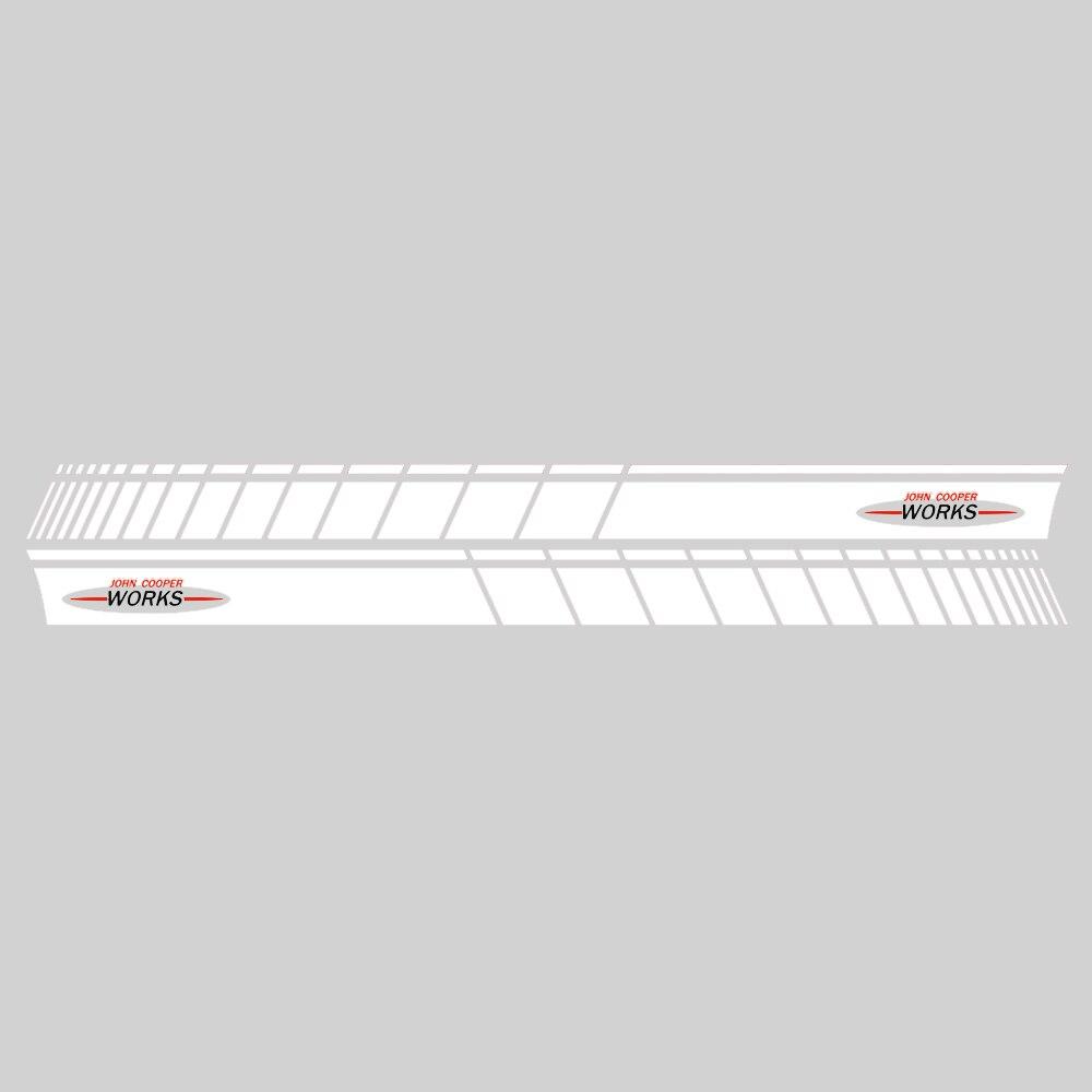 Автомобильный стиль, дверь, боковая полоса, юбка, наклейка, графическая наклейка для Mini Cooper Coupe R58 R57 F57 R59 Roadster R56 F56 JCW, аксессуары - Название цвета: Gloss White