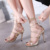 Sandálias romanas Sapatos Da Marca de Verão Mulheres Sexy Snake Imprimir Acenou termina Com Tiras de Salto Alto Sandálias de Ouro, prata, preto