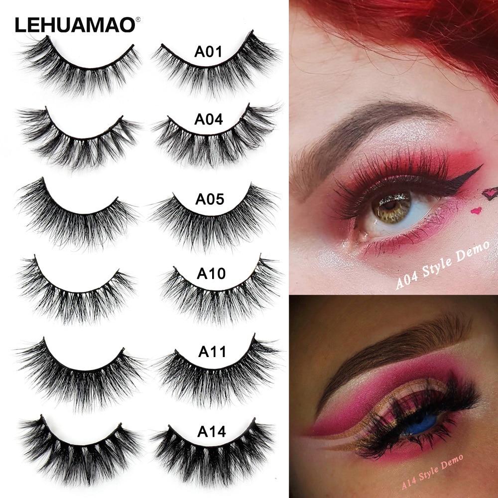 c5f6198fa08 LEHUAMAO False Eyelash 3D Mink Eyelashes Cruelty Free Natural Eyelash  Fluffy Long Cross Thick Mink Lashes Handmade Eye Lashes