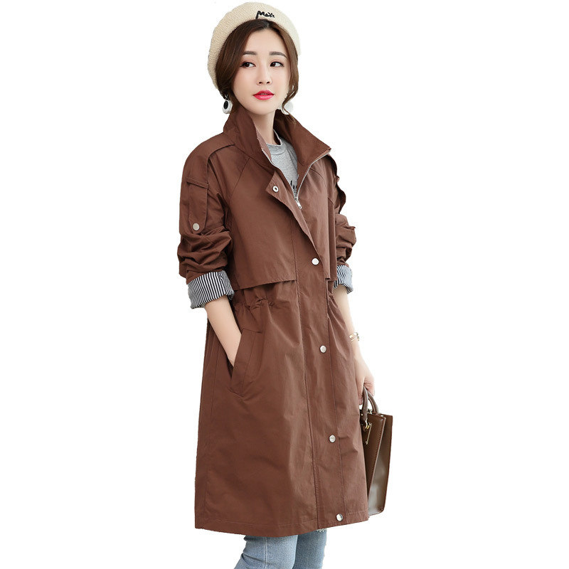 2019 fashion Stand collar zipper stripe   Trench   Coats Women's Spring Autumn Coat Plus Size casual long sleeve Outerwear tops V785