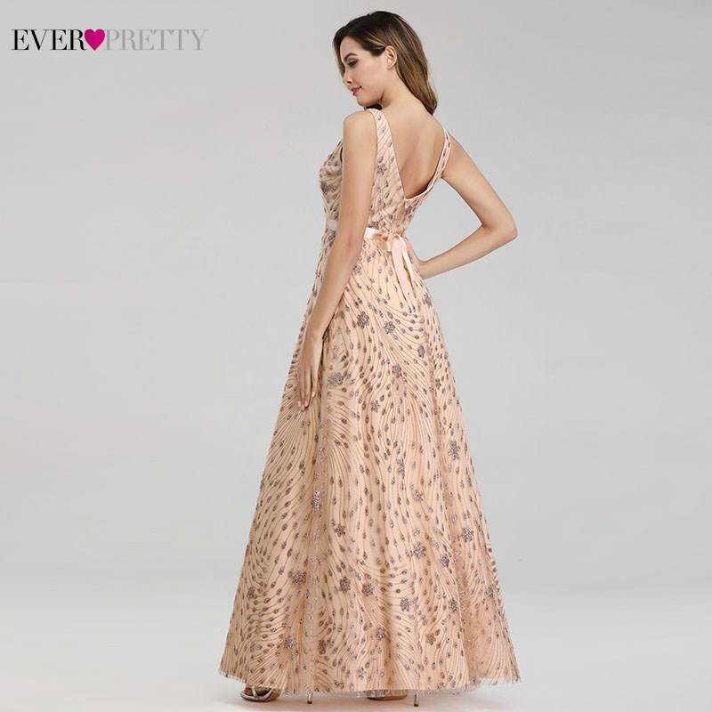Elegant Rose Gold Evening Dresses For Women Ever Pretty EP00802RG A-Line V-Neck Bow Sahses Sparkle Party Gowns Robe De Soiree